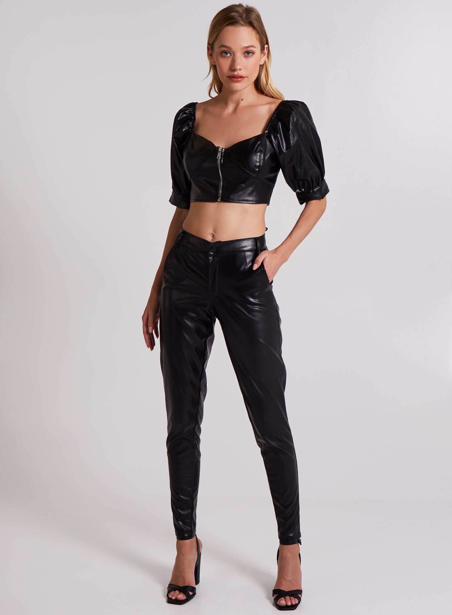 DUTIFUL - Zip Front Vegan Leather Bustier