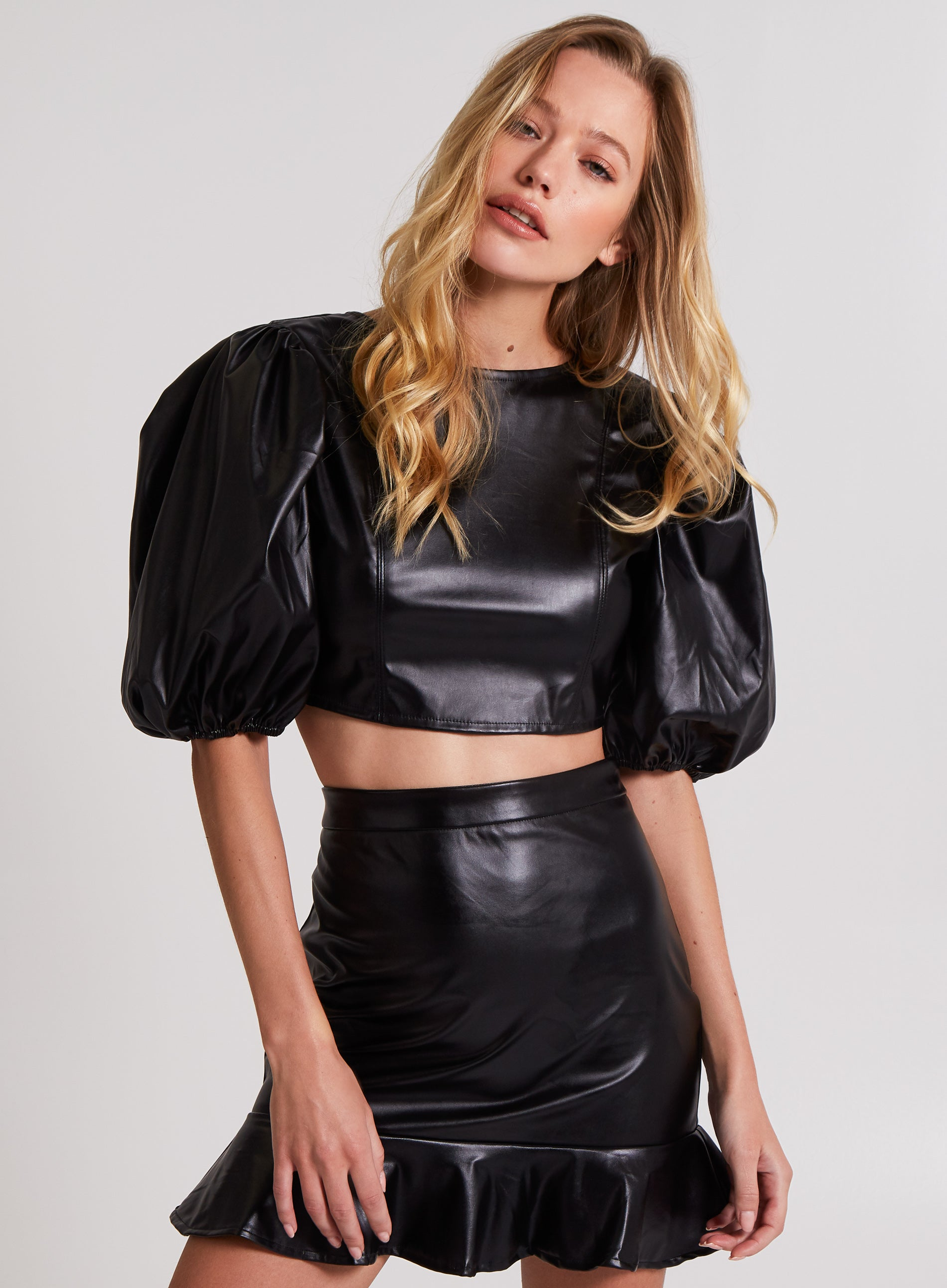 NAUGHTY - Puff Sleeve Tie Back Vegan Leather Top