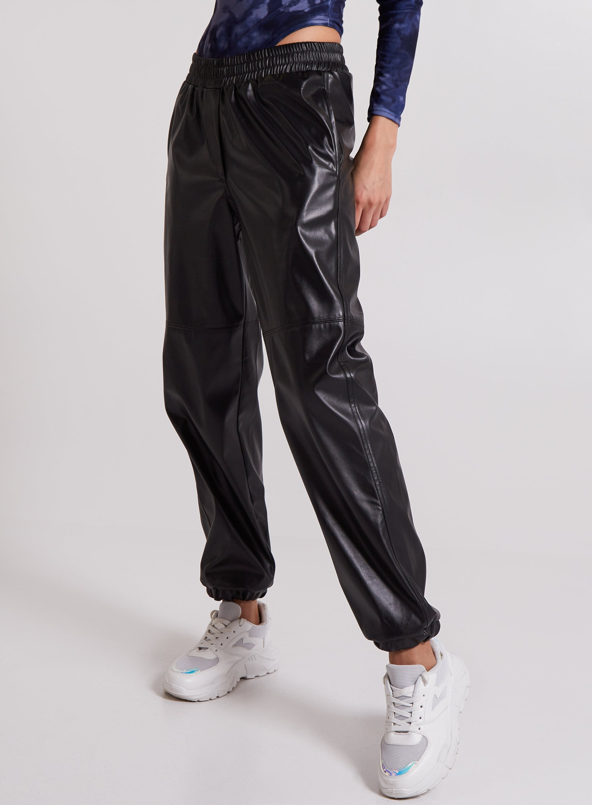 WICKED - Elasticated Waist Vegan Leather Joggers