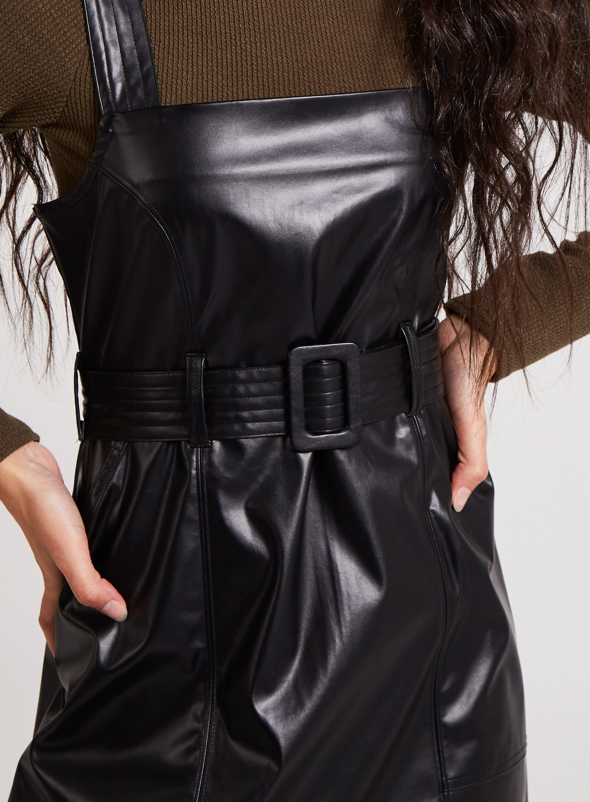SURE - Vegan Leather Belted Pinafore Dress