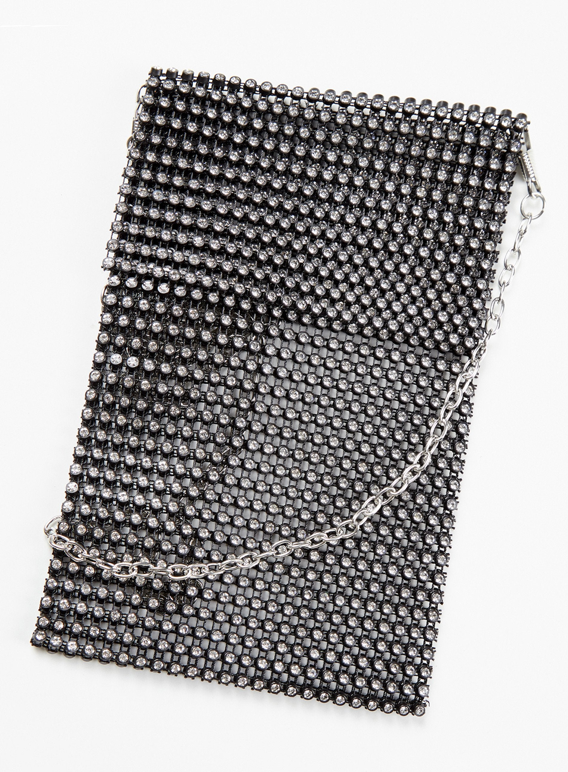 GLAMOUR - Black Diamanté Mesh Shoulder Bag