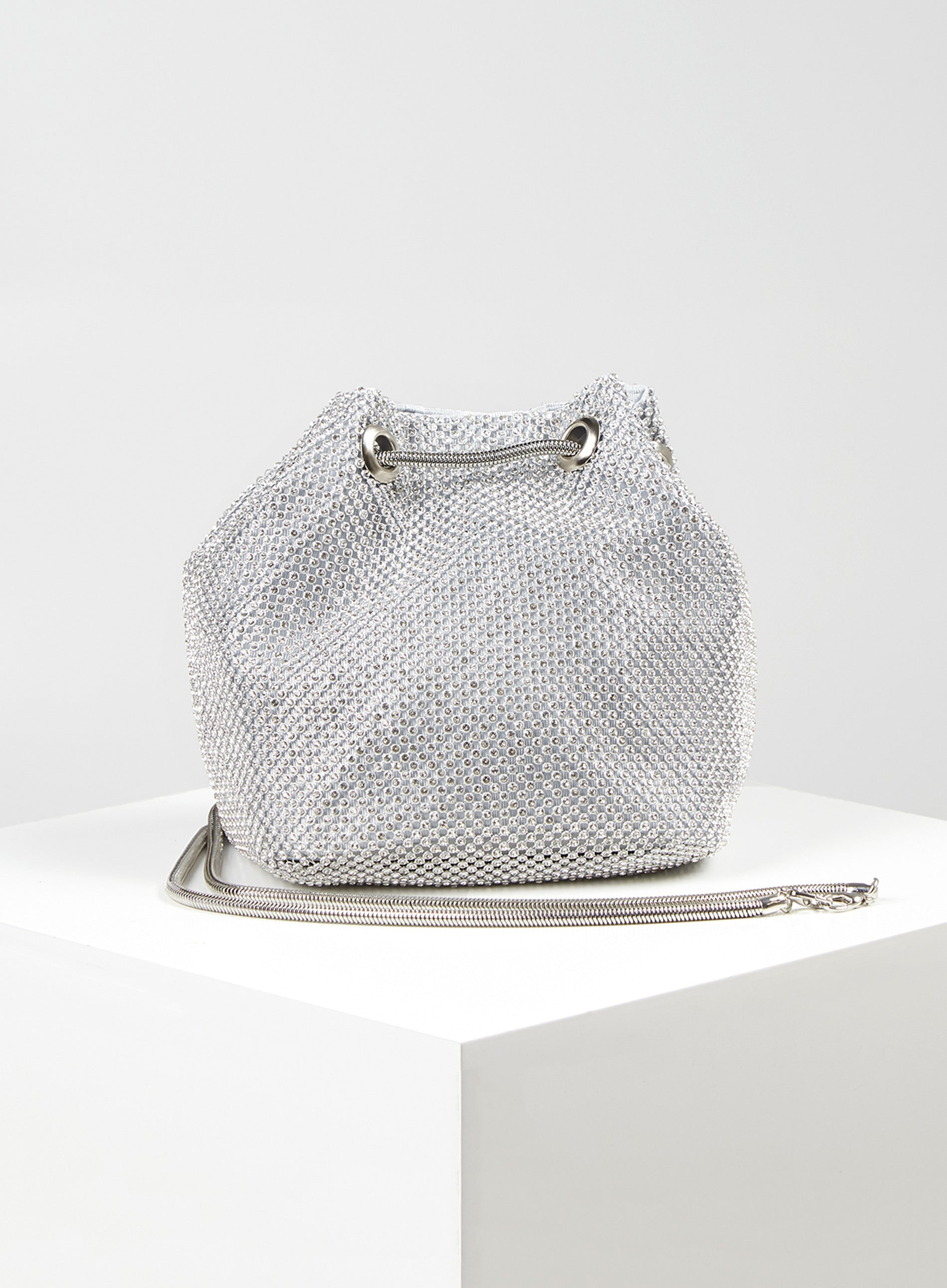 EXCITED - Diamante Mesh Chain Drawstring Bag