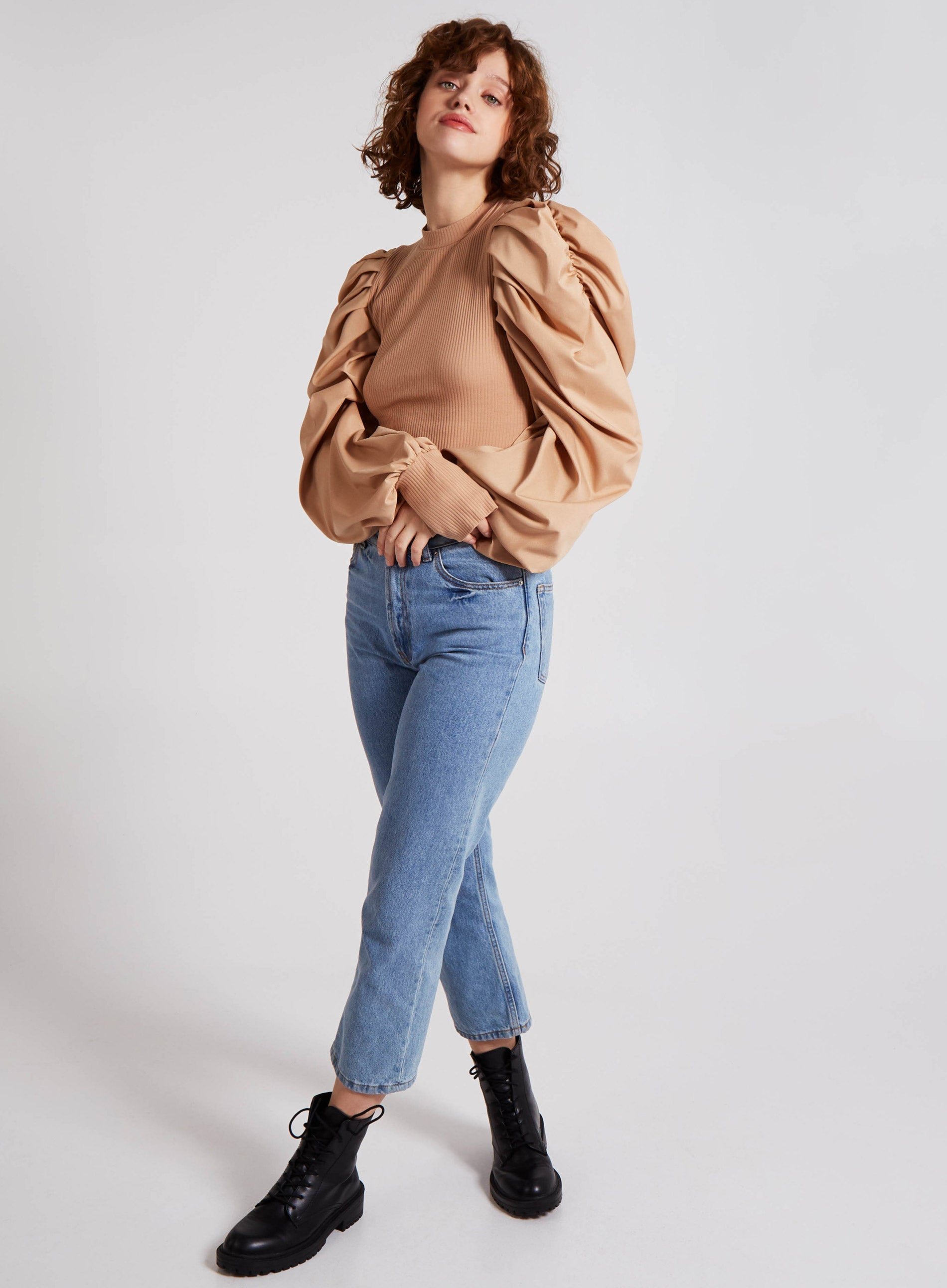DAINTY - Puff Shirt Sleeve Ribbed High Neck Top
