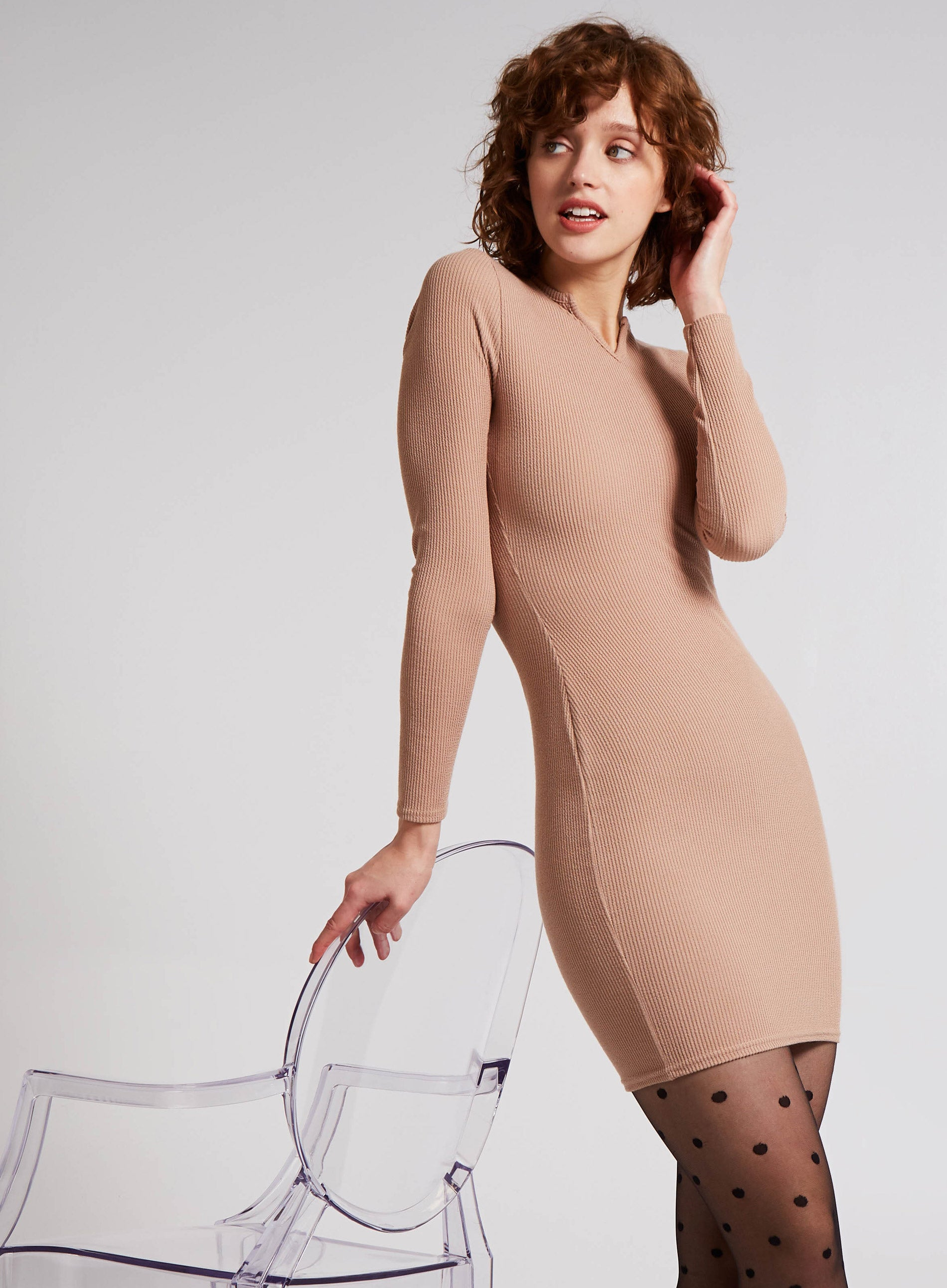 MOLLIFIED - Notch Neckline Long Sleeve Dress