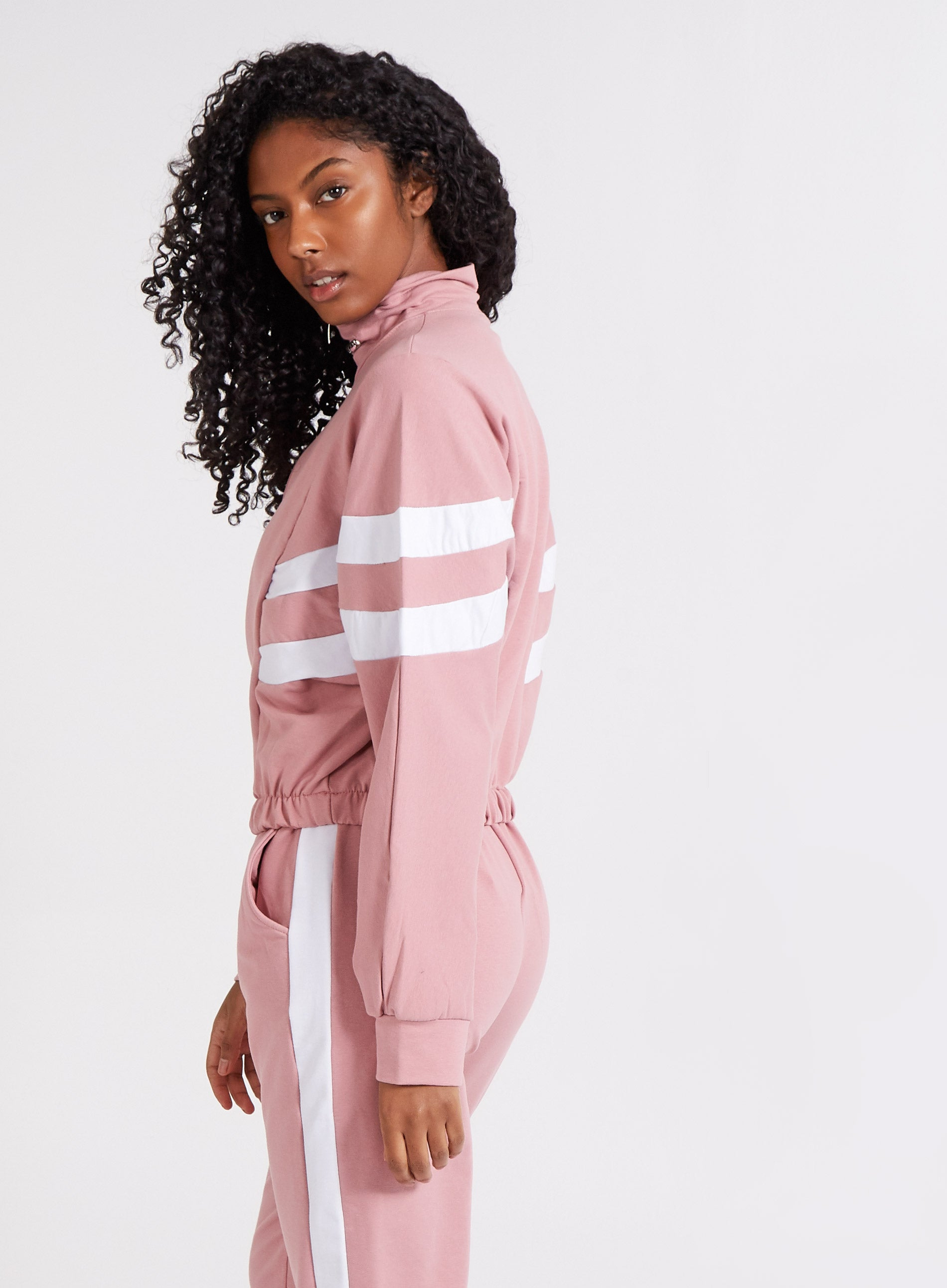 OPTIMISTIC - Stripe Zip Neck Lounge Sweatshirt