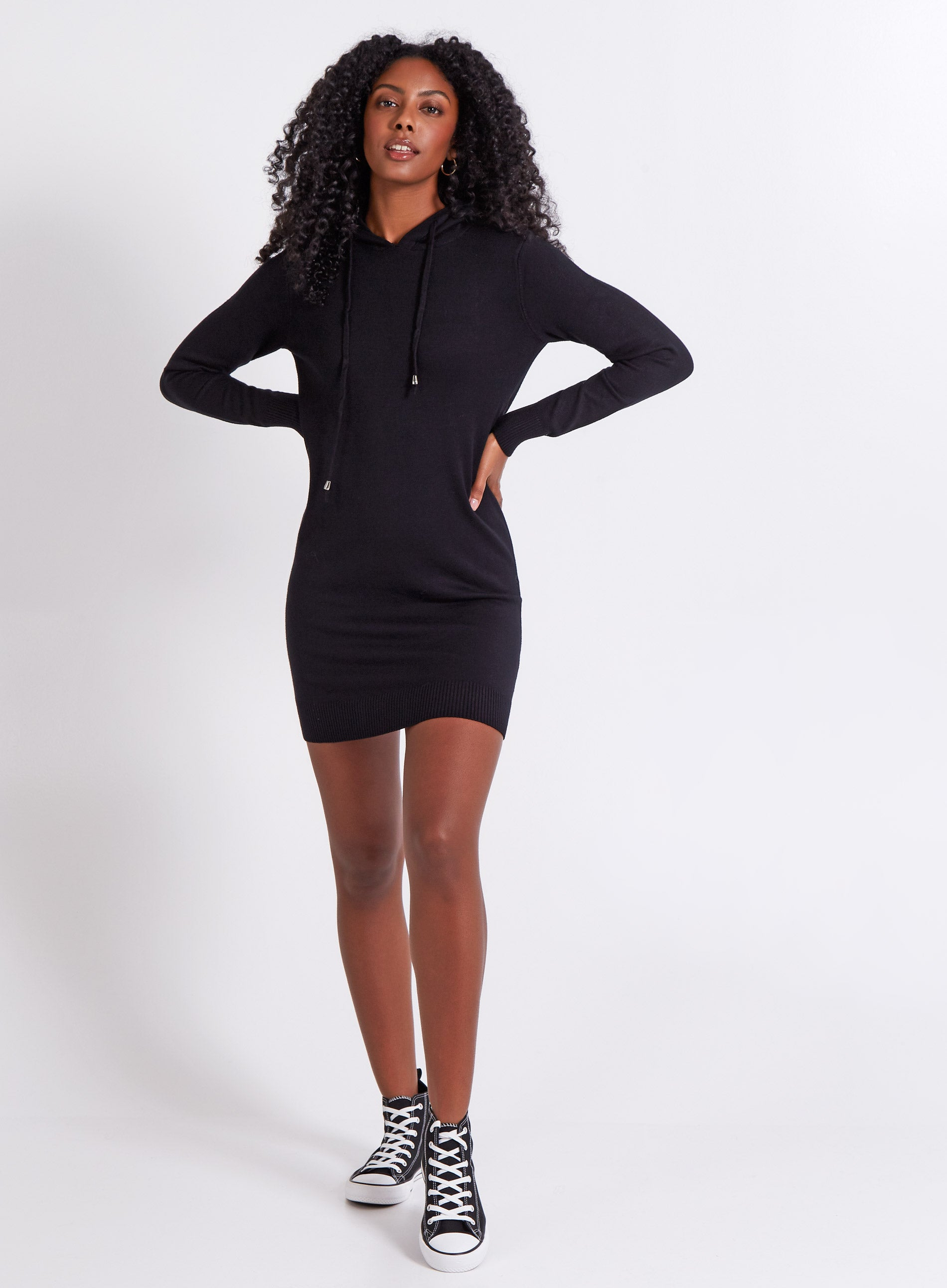 ZEAL - Draw String Hooded Jumper Dress