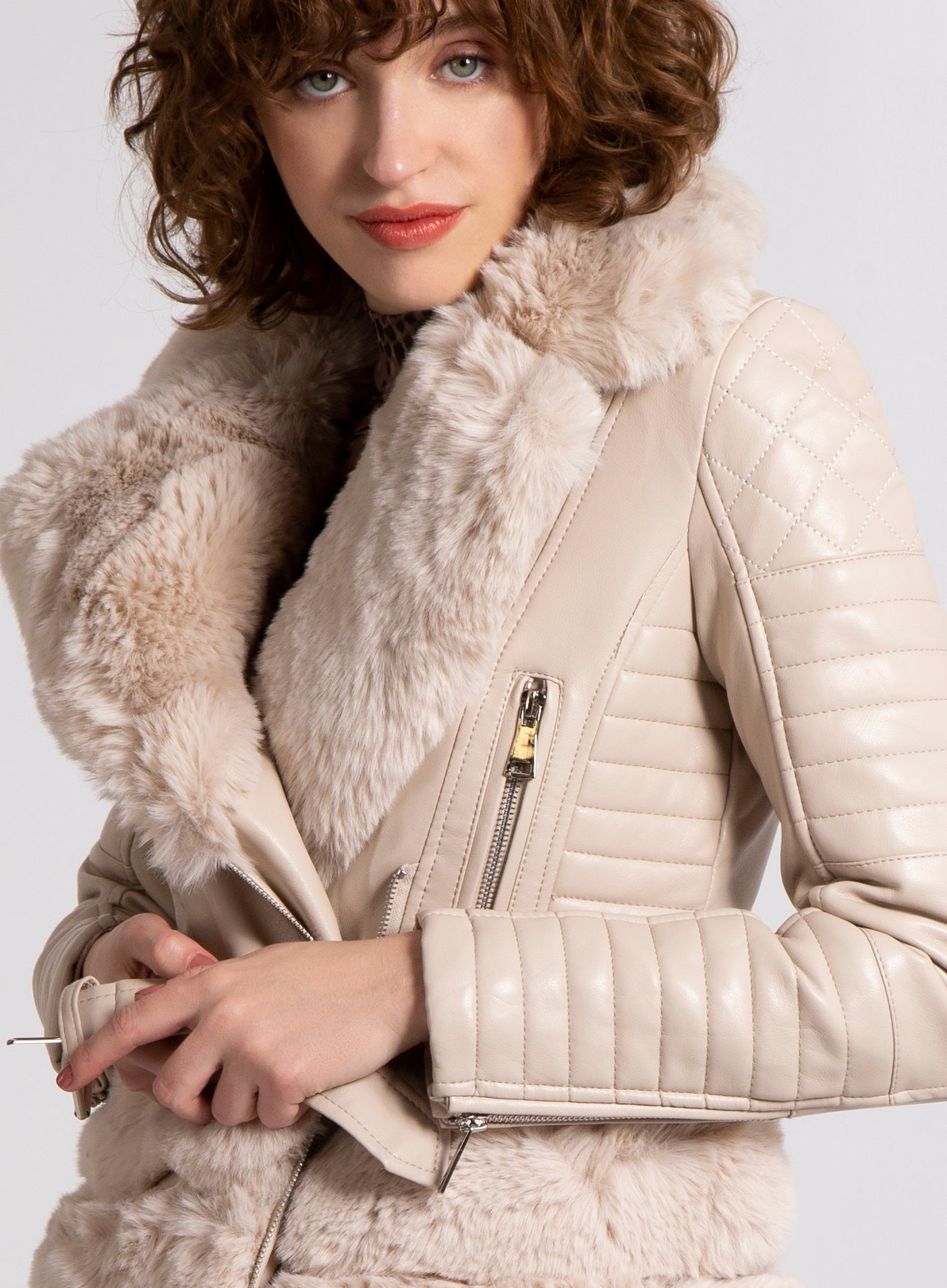 RENEWED - Fur Trim Biker Jacket