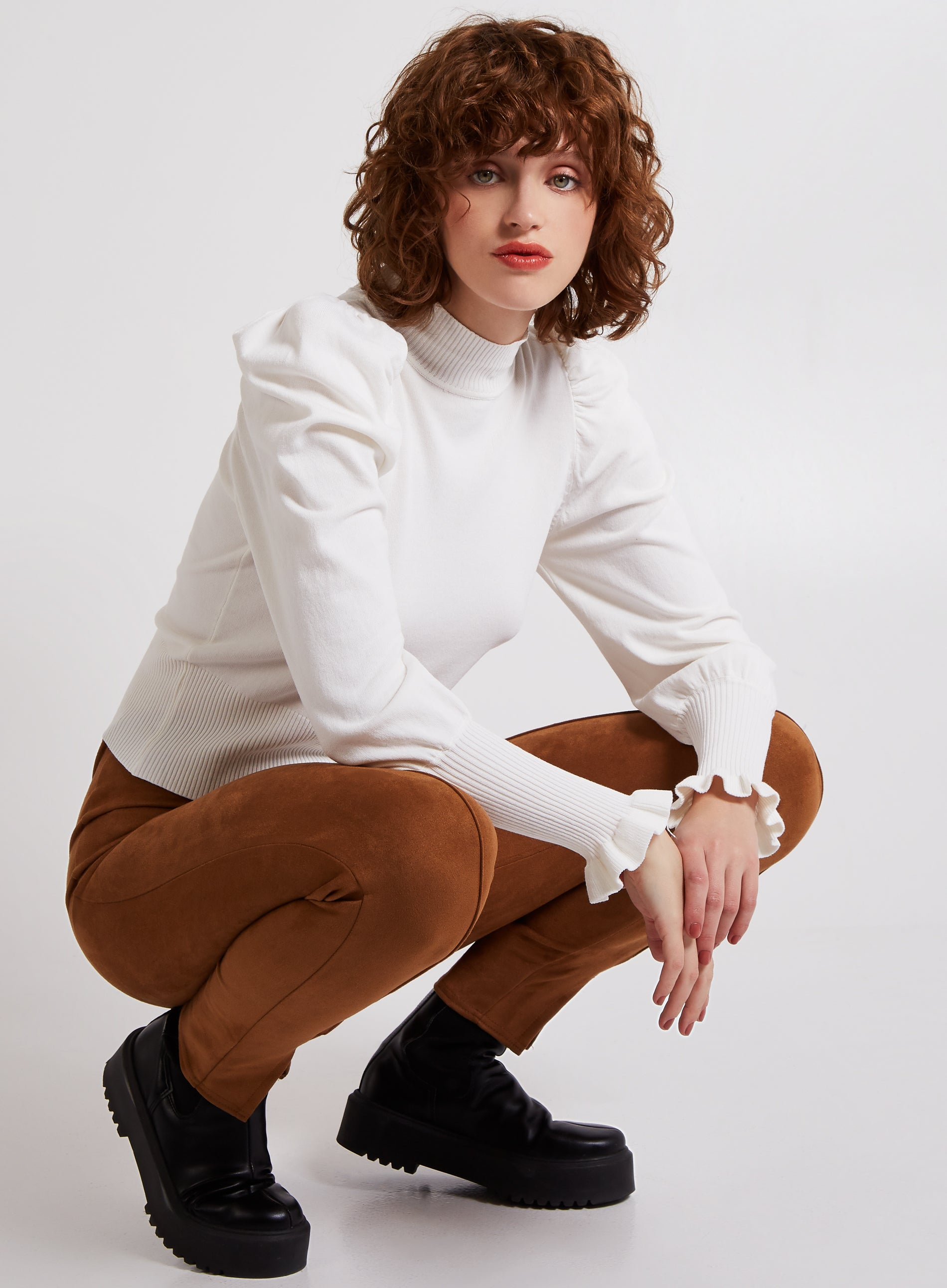 ENERGIZED - Turtle Neck Puff Sleeves Jumper