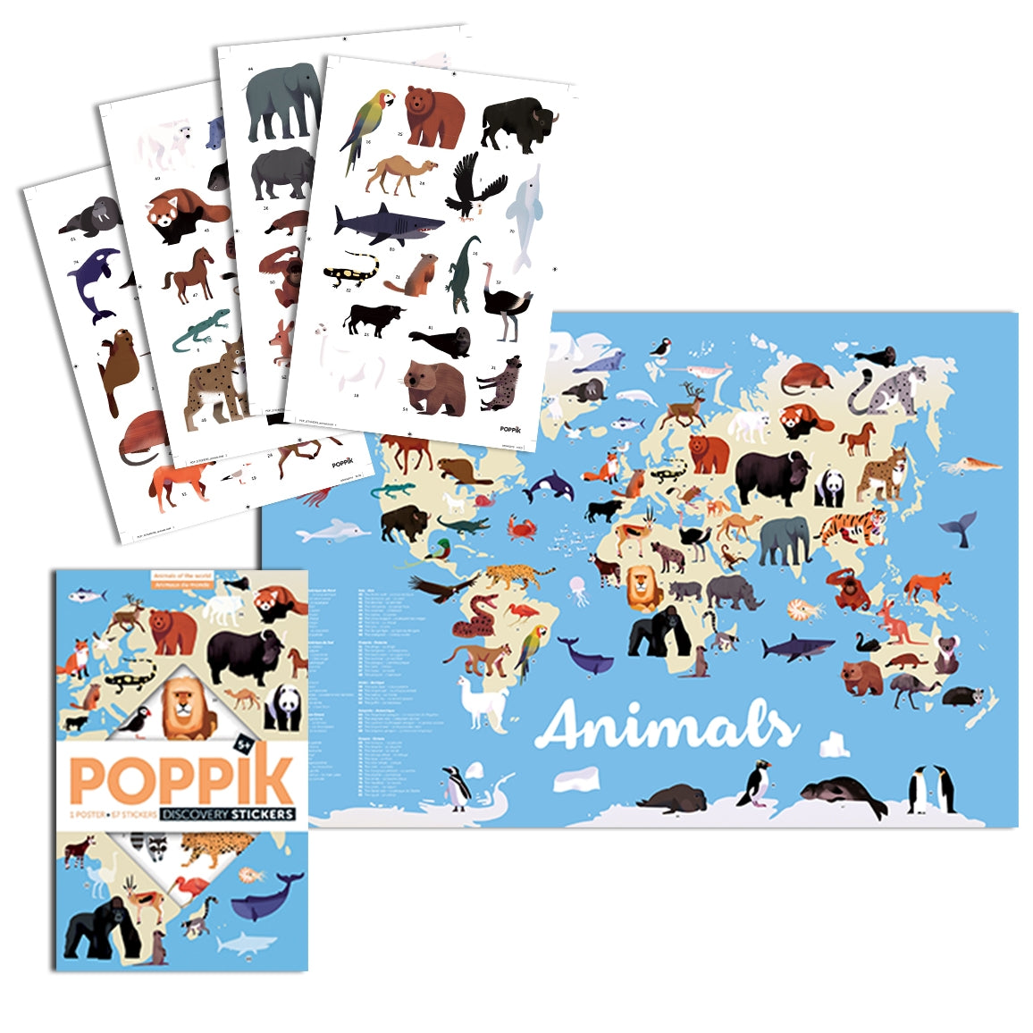 Animals of the World Discovery Sticker Poster