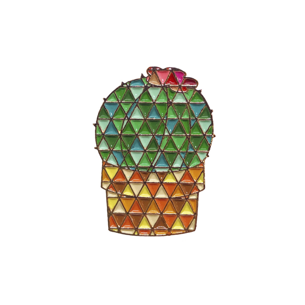Barrel Geometric Cactus Pin