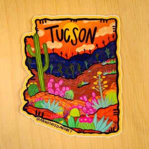 Orange AZ Outline Tucson Sticker