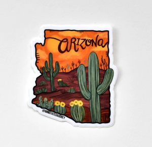 Orange Arizona Outline Sticker