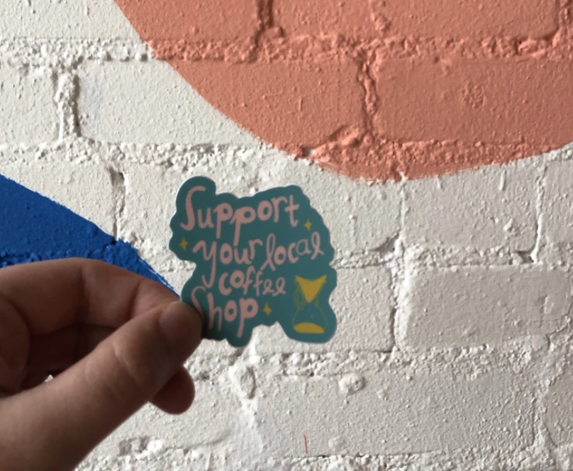 Support Coffee Shop Sticker