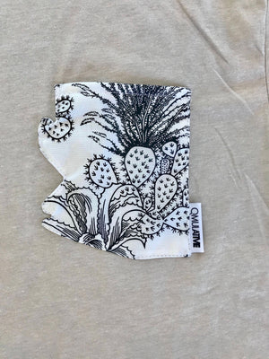 AZ Pocket Tee | Black/White Cacti