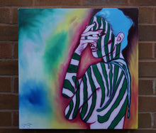 Load image into Gallery viewer, Zebra Girl. 55cm x 56cm.