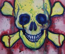 Load image into Gallery viewer, Smiley Crossbones. 21cm x 28cm.