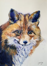 Load image into Gallery viewer, Mr Fox. Watercolour on paper. 42cm x 59.4cm