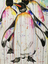 Load image into Gallery viewer, Line of Penguins. Watercolour on paper. 42cm x 59.4cm.