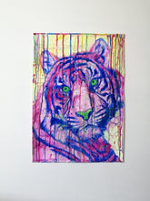 Load image into Gallery viewer, Radient Beast. Watercolour Tiger on paper. 42cm x 59.4cm.