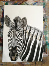 Load image into Gallery viewer, Shine Bright My Stripy Friend. Watercolour on paper. 42cm x 59.4cm.
