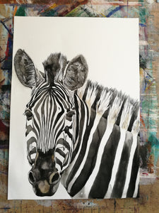 Shine Bright My Stripy Friend. Watercolour on paper. 42cm x 59.4cm.