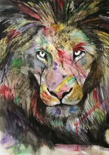 Load image into Gallery viewer, The Colourful King. Watercolour on paper. 42cm x 59.4cm.