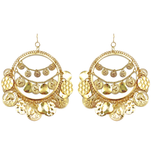 Load image into Gallery viewer, Nine Of Pentacles Dangle Hoop Earrings