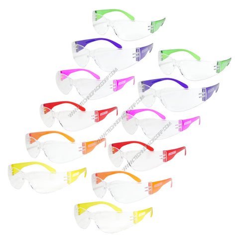 LS-260 - Impact Resistant Polycarbonate (Clear Lens with Colored Temples) Safety Glasses (Pack of 12 Multicolor)