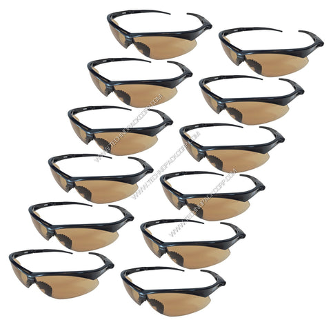LS-352) - Safety Glasses - Impact Resistant Polycarbonate (Black Frame with Clear, Smoke, Brown, Mirror Lens) - Pack of 12
