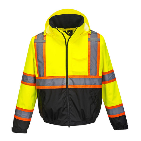 US367 - Hi-Vis 2-in-1 Contrast Tape Bomber Jacket - Yellow/Black