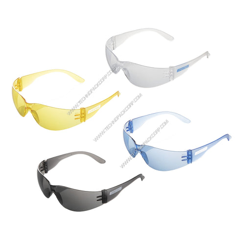 S-LS-260 - Impact Resistant Polycarbonate (Clear, Blue, Smoke, Yellow / Amber Lens) Safety Glasses (Pack of 12)
