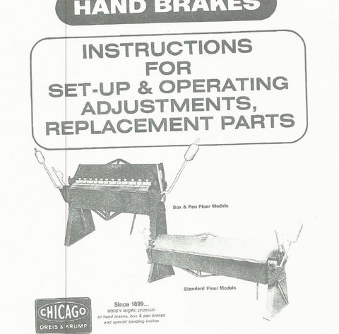 Chicago brake parts book MODELS S & SO / BP & BPO