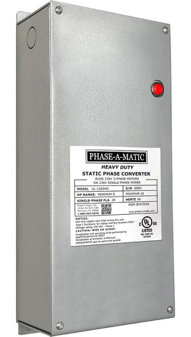 Phase-A-Matic 8 to 10 HP Phase-A-Matic™ UL Certified Heavy Duty Static Phase Converter Model UL-1200HD