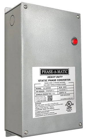 Phase-A-Matic 3 to 5 HP Phase-A-Matic™ UL Certified Heavy Duty Static Phase Converter Model UL-600HD