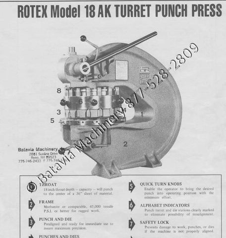 ROTEX TURRET PUNCH MDL 18AK, 18C, 20C