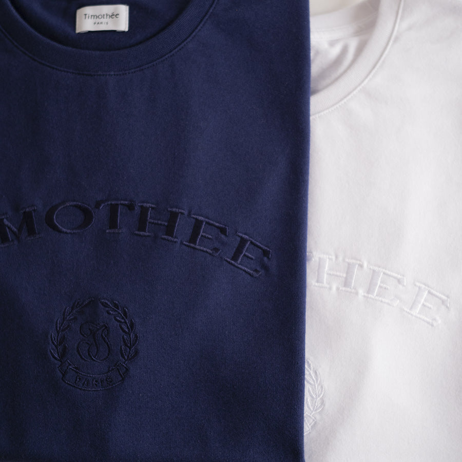 navy-&-white-short-sleeve-embroidered-timothee-paris-monogram-logo-oversized-tshirt-detail-closeup-two-colours