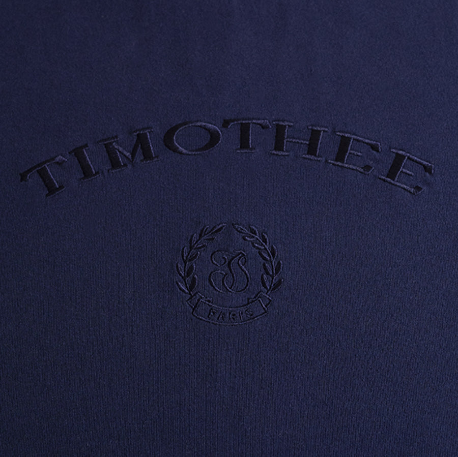 navy-short-sleeve-embroidered-timothee-paris-monogram-logo-oversized-tshirt-detail-closeup