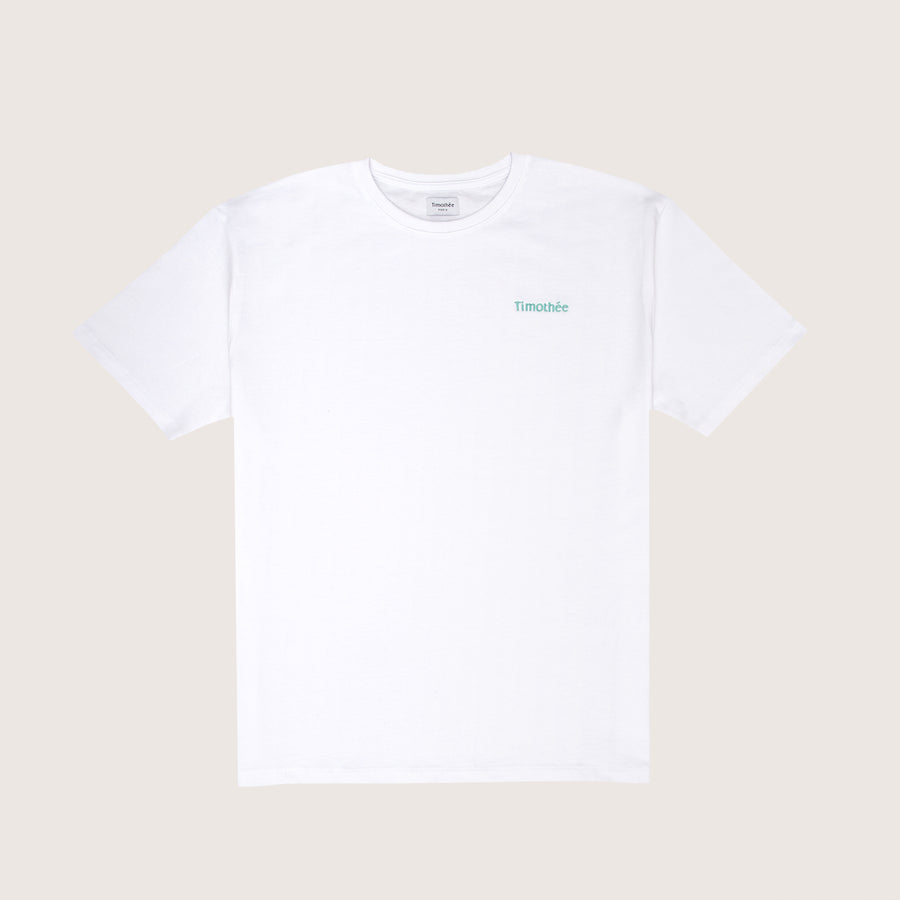 white-short-sleeve-embroidered-timothee-paris-logo-on-chest-oversized-tshirt-front-view-mint-green