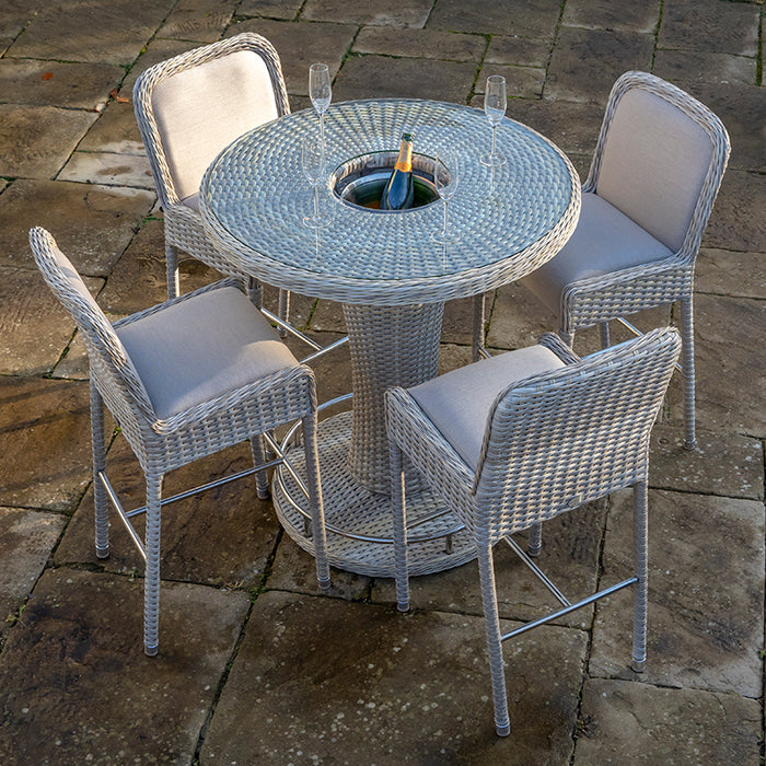 Aspen Round Bar Table with 4 Bar Chairs
