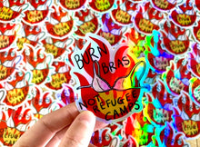 "Load image into Gallery viewer, ""Burn Bras Not Refugee Camps"" die cut sticker - Afroditi's Art"