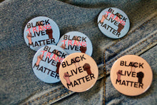 "Load image into Gallery viewer, ""Black Lives Matter/ Black Trans Lives Matter"" badge - Afroditi's Art"