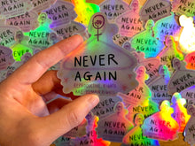 "Load image into Gallery viewer, ""Never Again"" die cut sticker - Afroditi's Art"