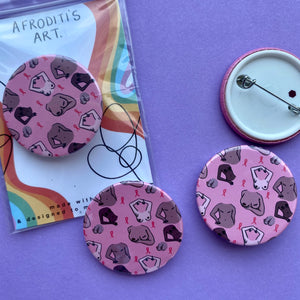 """Breast cancer awareness boobies"" badge - Afroditi's Art"