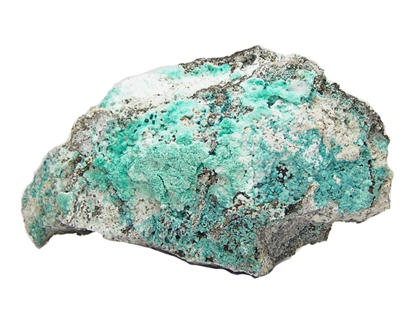 Rosasite rare blue green crystals on Aurichalcite on Rock Matrix Mexican Mineral Specimen,  mined in 1970s