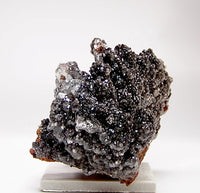 Black Goethite Stalactites with Glistening Calcite Druse on Matrix Mexican Mineral Specimen