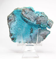 Chrysocolla Blue Crystalline Botryoidal bubbly crust on Rock Matrix Mineral from Congo, Africa