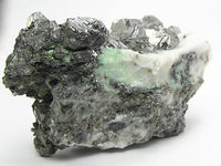 Gersdorffite Very Rare Exceptionally Large crystals in calcite with Green Annabergite, for the expert collector