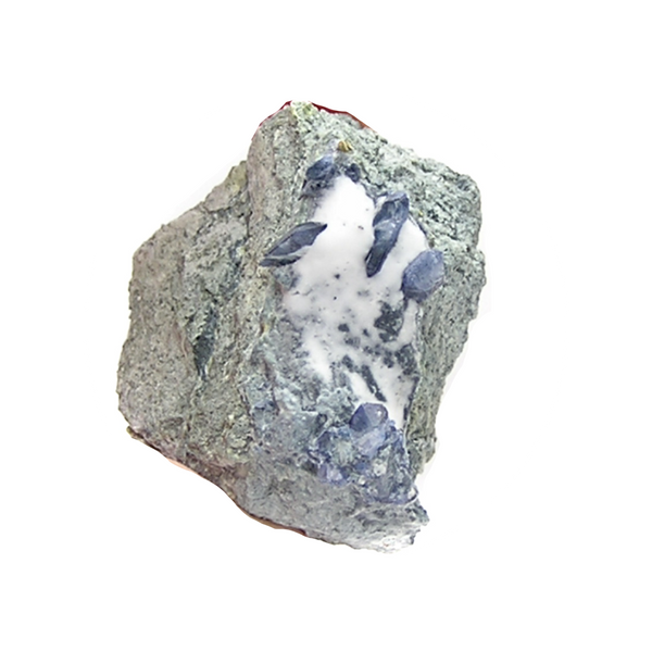 Blue Benitoite on Rock Matrix Rare Crystals Mineral Specimen California State Gemstone