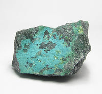 Volborthite rare yellow crystalline mineral on blue chrysocolla, New Mexico Mines Specimen