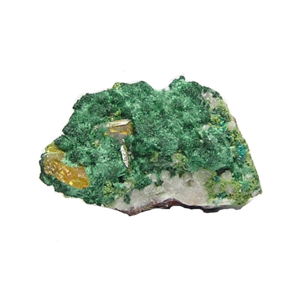Yellow Wulfenite on Green Malachite Miniature Mineral Specimen, Tsumeb, Namibia